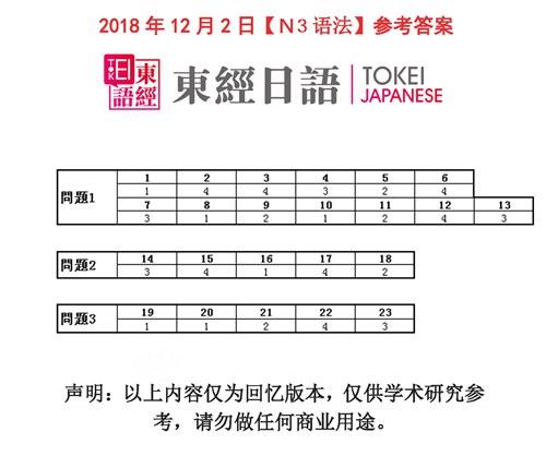 2018年12月日语N3语法答案-日语三级